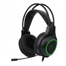 Casti Gaming T-DAGGER Atlas Black, Stereo, Iluminare verde, 2x Jack 3.5mm, TRS, Difuzoare 40mm, Cablu 1.95m
